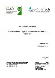 Environmental impacts evaluations methods of water use