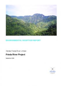 ENVIRONMENTAL INCEPTION REPORT. Xstrata Frieda River Limited. Frieda River Project