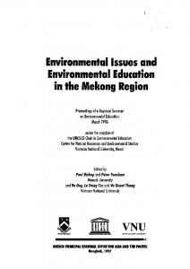 Environmental Issues and Environmental Education in the Mekong Region