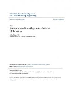 Environmental Law Slogans for the New Millennium