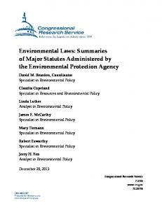 Environmental Laws: Summaries of Major Statutes Administered by the Environmental Protection Agency