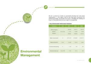 Environmental. Management. Key Environmental Performance Indicators. Sustainability