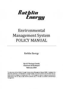 Environmental Management System POLICY MANUAL