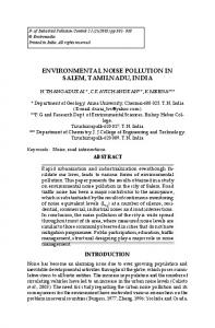 ENVIRONMENTAL NOISE POLLUTION IN SALEM, TAMILNADU, INDIA