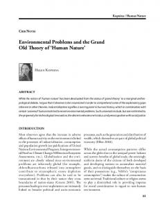 Environmental Problems and the Grand Old Theory of Human Nature