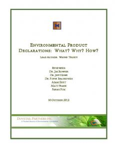 ENVIRONMENTAL PRODUCT DECLARATIONS: WHAT? WHY? HOW?