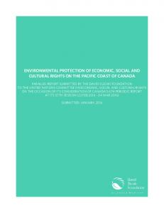 ENVIRONMENTAL PROTECTION OF ECONOMIC, SOCIAL AND CULTURAL RIGHTS ON THE PACIFIC COAST OF CANADA