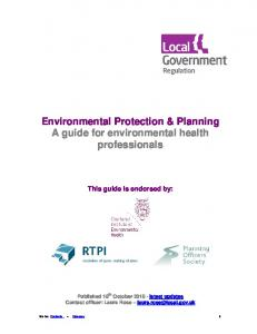 Environmental Protection & Planning A guide for environmental health professionals