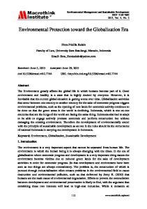 Environmental Protection toward the Globalization Era