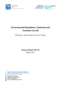 Environmental Regulations, Abatement and Economic Growth