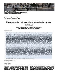 Environmental risk analysis of sugar factory waste