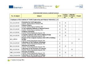 Environmental sciences, material sciences