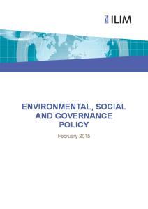 ENVIRONMENTAL, SOCIAL AND GOVERNANCE POLICY