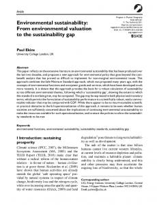 Environmental sustainability: From environmental valuation to the sustainability gap