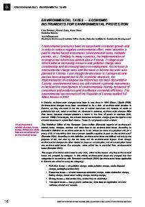 ENVIRONMENTAL TAXES ECONOMIC INSTRUMENTS FOR ENVIRONMENTAL PROTECTION