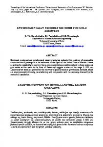 ENVIRONMENTALLY FRIENDLY METHODS FOR GOLD RECOVERY