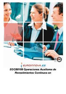 EOCB0109 Operaciones Auxiliares de Revestimientos Continuos en