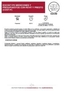 EOCO071PO MEDICIONES Y PRESUPUESTOS CON REVIT Y PRESTO (COST-IT)