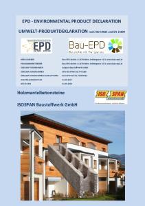 EPD - ENVIRONMENTAL PRODUCT DECLARATION