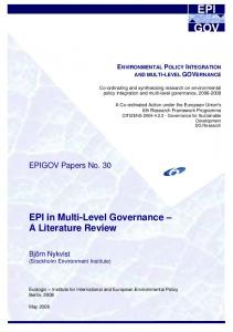EPI in Multi-Level Governance A Literature Review