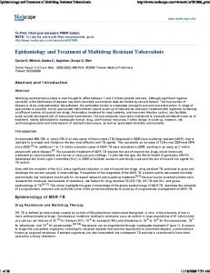 Epidemiology and Treatment of Multidrug Resistant Tuberculosis