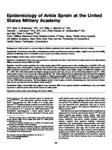 Epidemiology of Ankle Sprain at the United States Military Academy