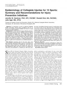 Epidemiology of Collegiate Injuries for 15 Sports: Summary and Recommendations for Injury Prevention Initiatives