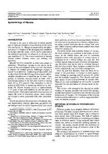 Epidemiology of Myopia