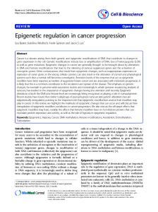 Epigenetic regulation in cancer progression