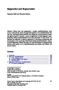 Epigenetics and Regeneration