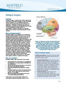 Epilepsy Surgery. Types of epilepsy surgery. Who is a candidate? Epilepsy surgery may be an option if you have: