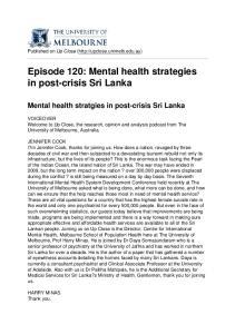 Episode 120: Mental health strategies in post-crisis Sri Lanka