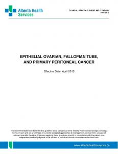 EPITHELIAL OVARIAN, FALLOPIAN TUBE, AND PRIMARY PERITONEAL CANCER
