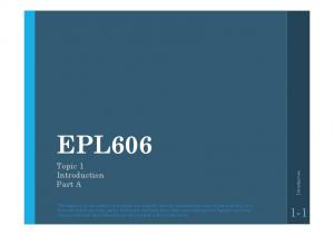EPL Topic 1 Introduction Part A. Introduction