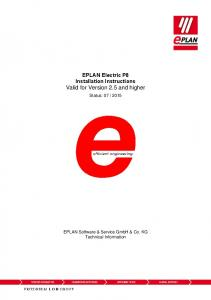 EPLAN Electric P8 Installation Instructions Valid for Version 2.5 and higher