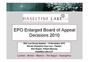 EPO Enlarged Board of Appeal Decisions 2010