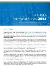 EQAVET Secretariat Survey 2013