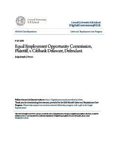 Equal Employment Opportunity Commission, Plaintiff, v. Citibank Delaware, Defendant