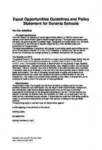 Equal Opportunities Guidelines and Policy Statement for Durants Schools