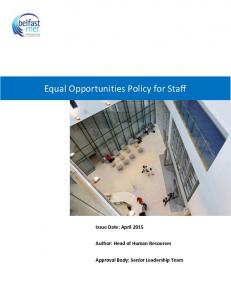 Equal Opportunities Policy for Staff