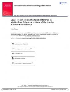 Equal Treatment and Cultural Difference in Multi ethnic Schools: a critique of the teacher ethnocentrism theory