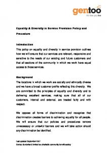 Equality & Diversity in Service Provision Policy and