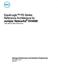 EqualLogic PS Series Reference Architecture for Juniper Networks EX4500