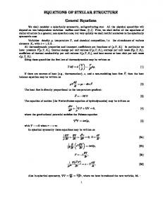 EQUATIONS OF STELLAR STRUCTURE. General Equations
