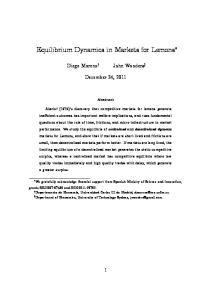 Equilibrium Dynamics in Markets for Lemons