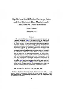 Equilibrium Real Effective Exchange Rates and Real Exchange Rate Misalignments: Time Series vs. Panel Estimates