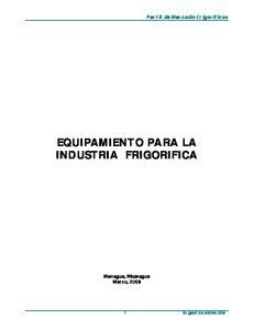 EQUIPAMIENTO PARA LA INDUSTRIA FRIGORIFICA