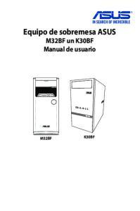 Equipo de sobremesa ASUS M32BF un K30BF Manual de usuario