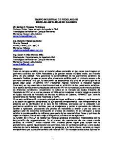 EQUIPO INDUSTRIAL DE RECICLADO DE MEZCLAS ASFALTICAS EN CALIENTE