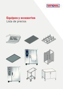 Equipos y accesorios. Lista de precios